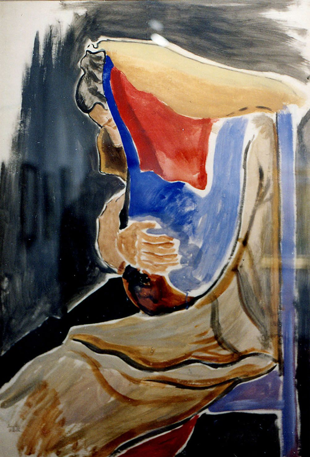 Joseph Stella, Seated Woman, watercolor on paper, 40 x 28 inches