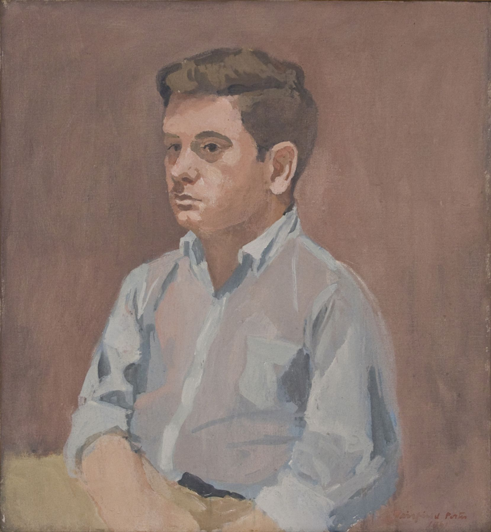 Fairfield Porter, Portrait of James Schuyler, 1961, oil on canvas, 24 x 22 inches