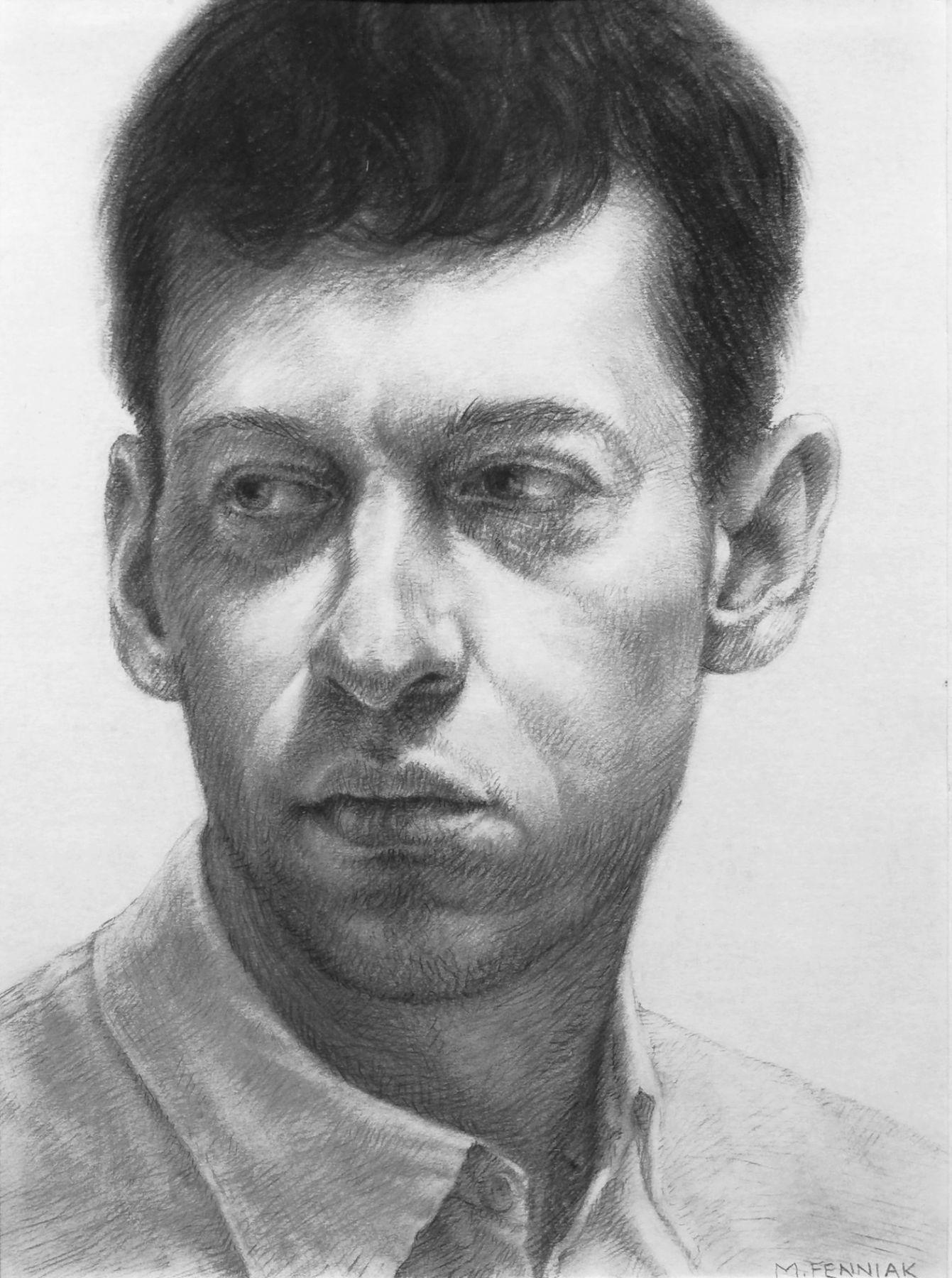 michelel fenniak, Daniel, 2002, charcoal on paper, 9 1/4 x 6 3/4 inches