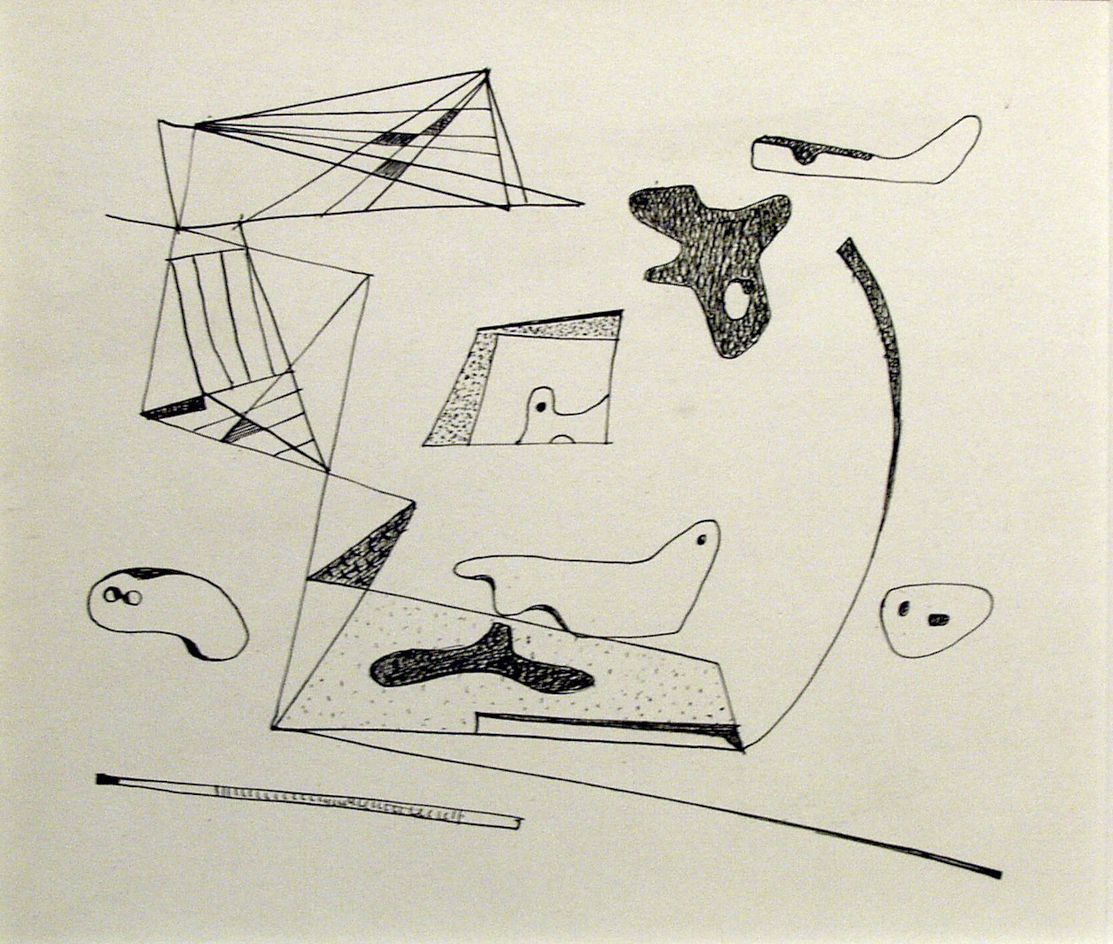 Ilya Bolotowsky, Untitled, Composition Study, c. 1930, ink on paper, 6 x 6 1/2 inches