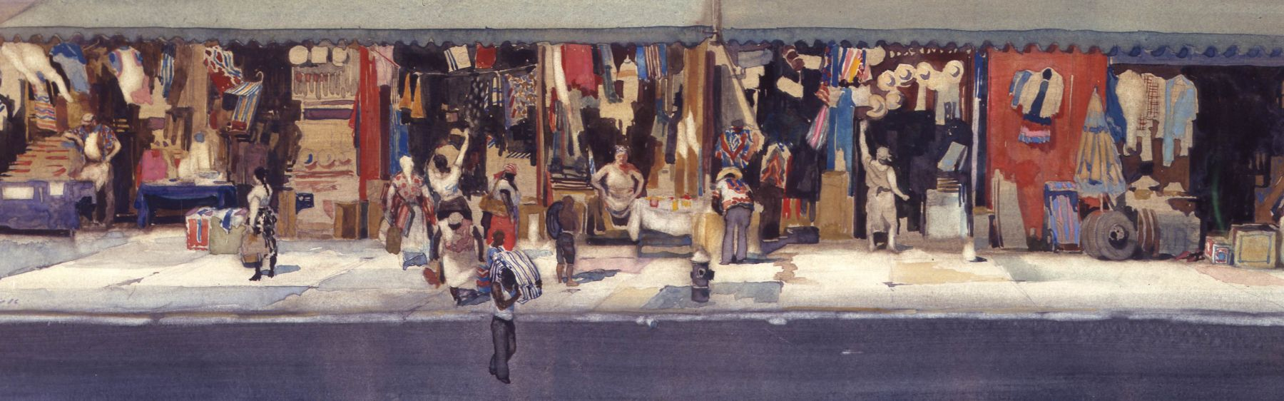 david levine, Delancey at Coney, 1986 watercolor on paper 7 1/2 x 22 1/2 inches, Private collection, West Orange, NJ