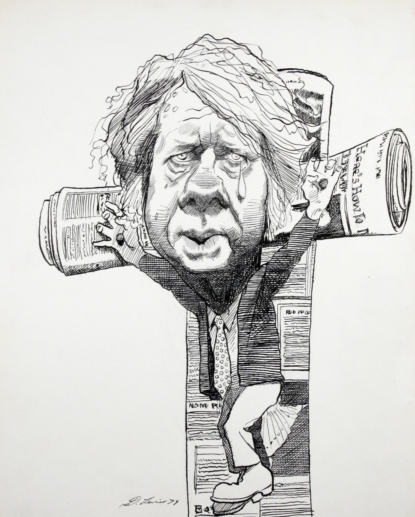 David Levine, Jimmy Carter- Crucifix, 1979, ink on paper, 13 x 11 inches