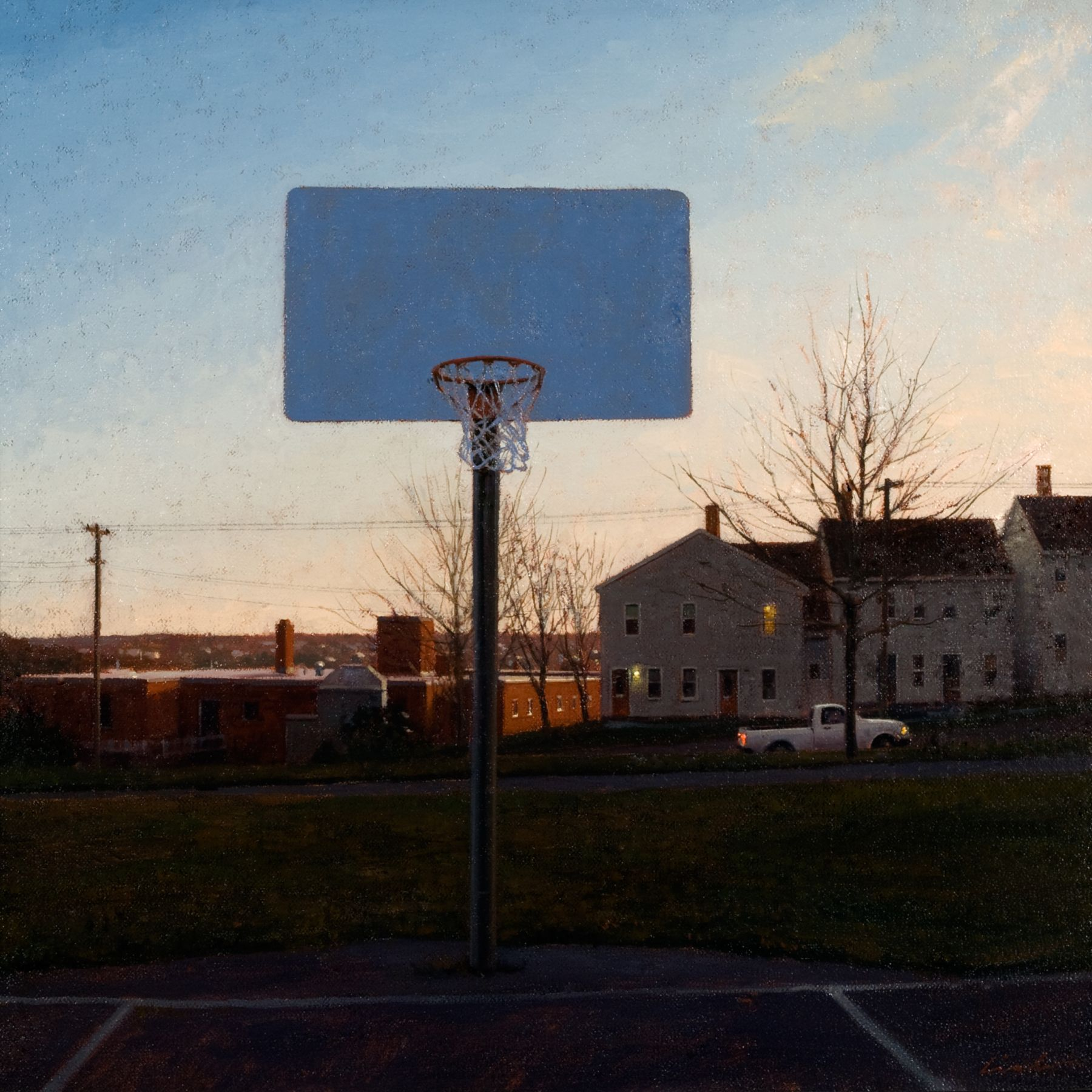 Linden Frederick, Hoops (SOLD), 2007, oil on panel, 12 1/4 x 12 1/4 inches