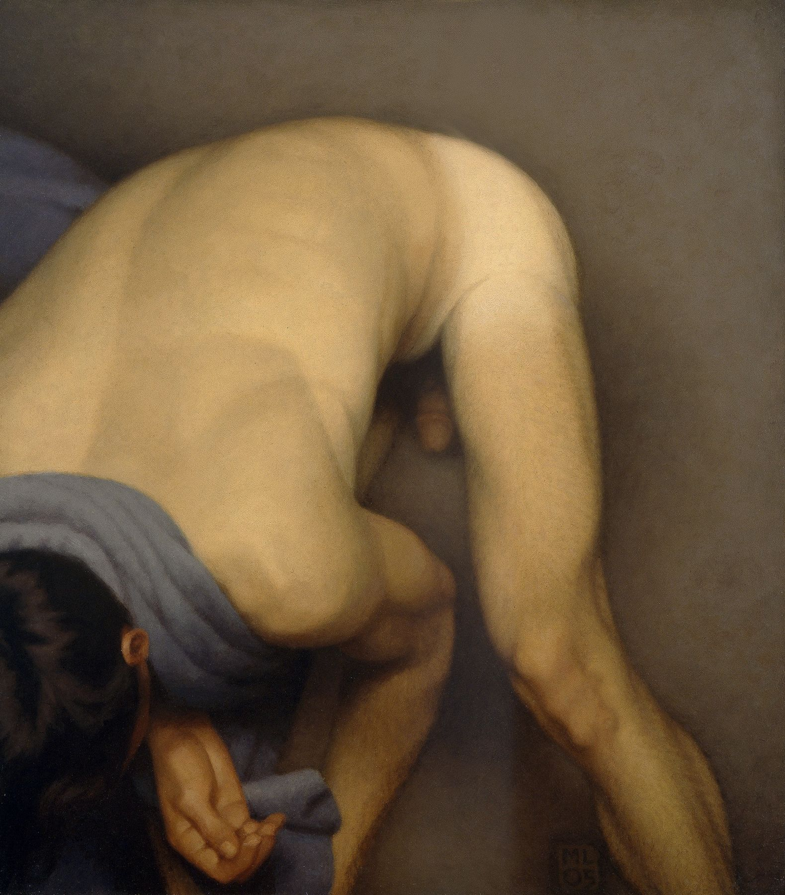 Michael Leonard, Bather Stooping Low, 2005, alkyd-oil on masonite, 23 x 21 1/2 inches