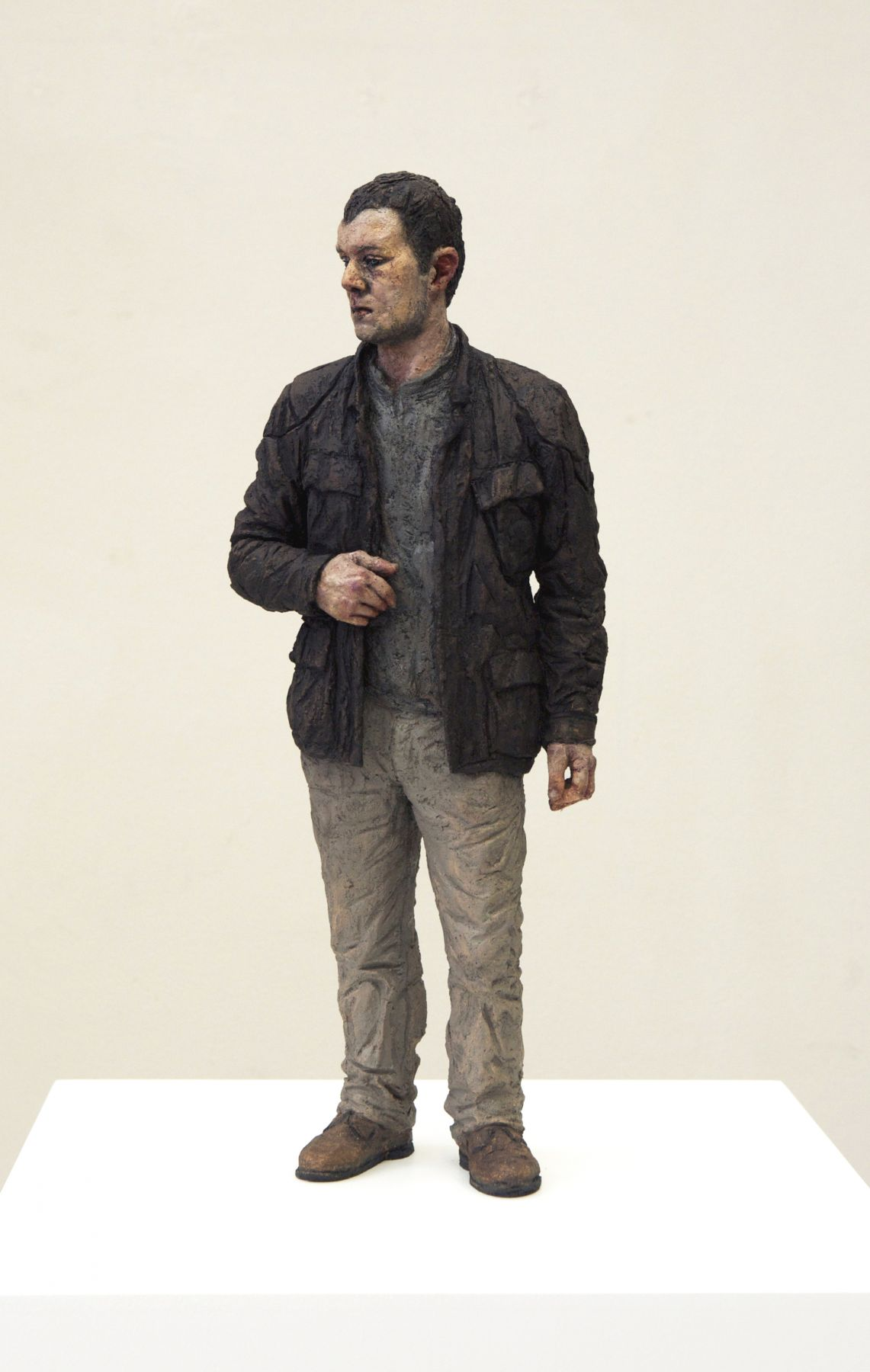 Sean Henry, Untitled (Man in Leather Jacket), 2010, bronze, oil paint, 21 x 8 1/4 x 6 inches, Edition 1/9