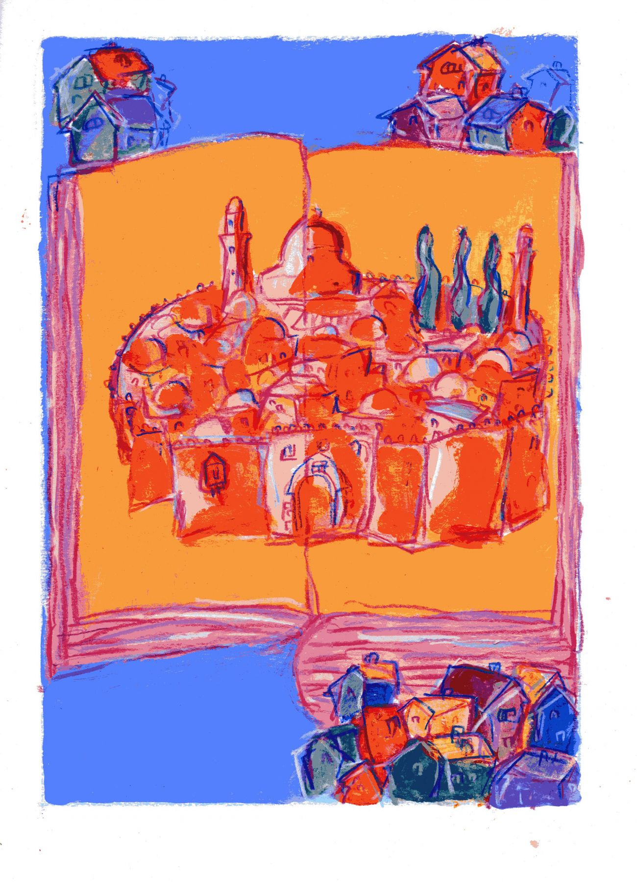 mark podwal, Next Year in Jerusalem, 2011, acrylic, gouache and colored pencil on paper, 16 x 12 inches