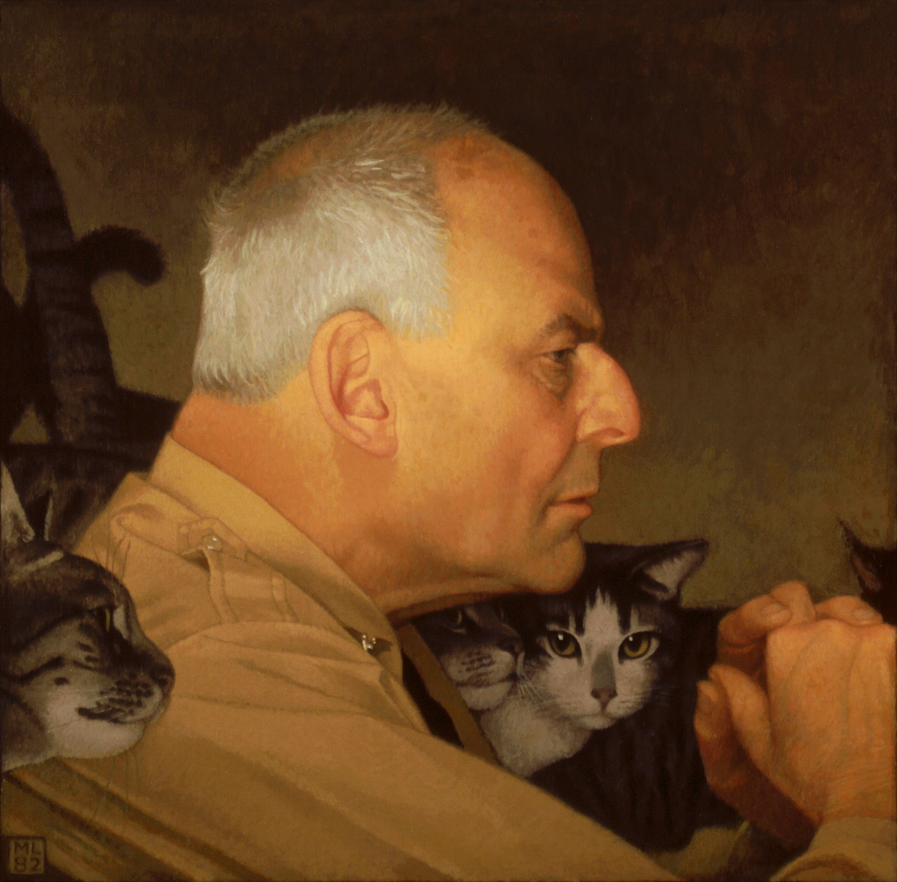 michael leonard, Lincoln Kirstein with Cats, oil on panel, 18 x 18 1/2 inches