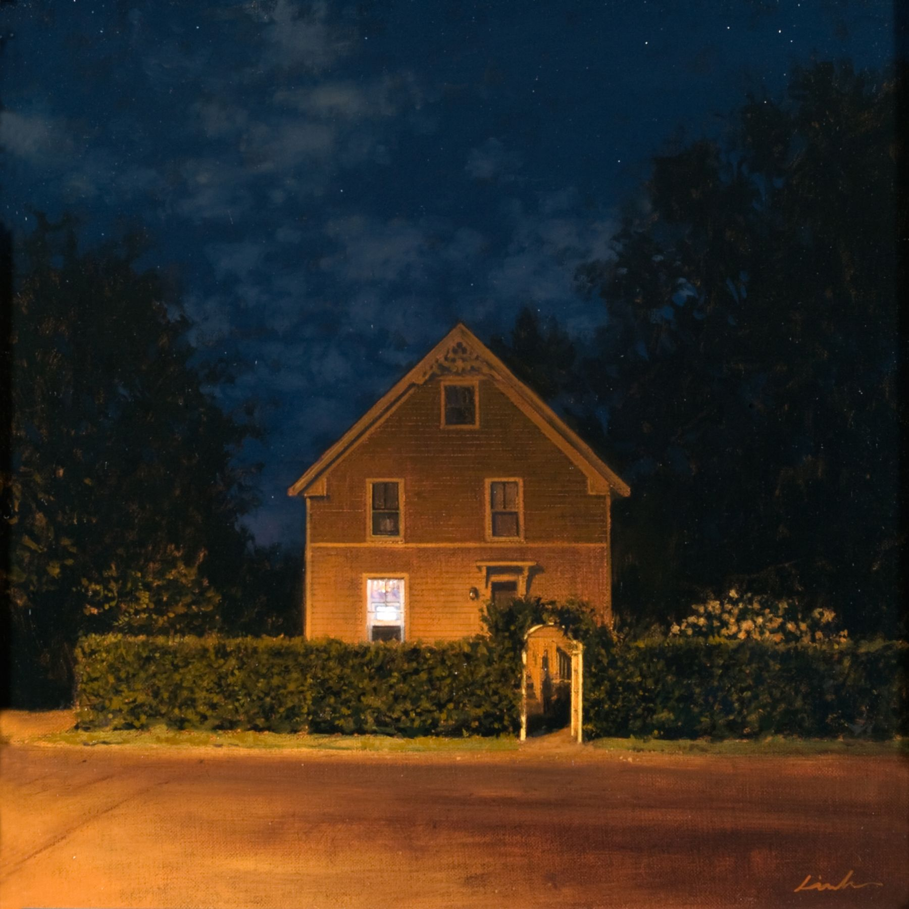 Linden Frederick, Gate (SOLD), 2008, oil on panel, 12 1/4 x 12 1/4 inches