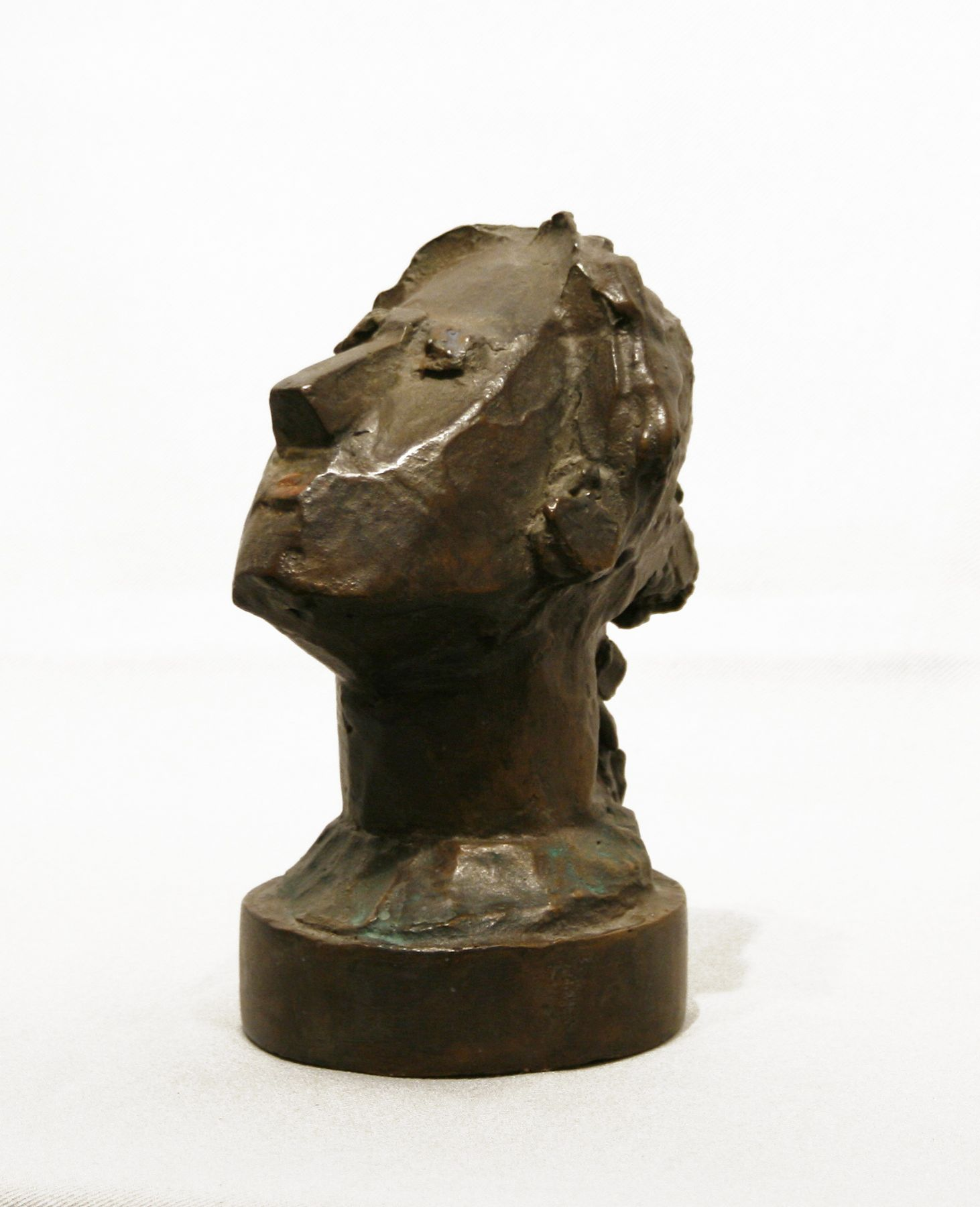 Max Weber, Gazing Head, 1943, bronze with brown patina heightened with red paint, 5 3/4 x 4 x 3 inches, Edition 3/6