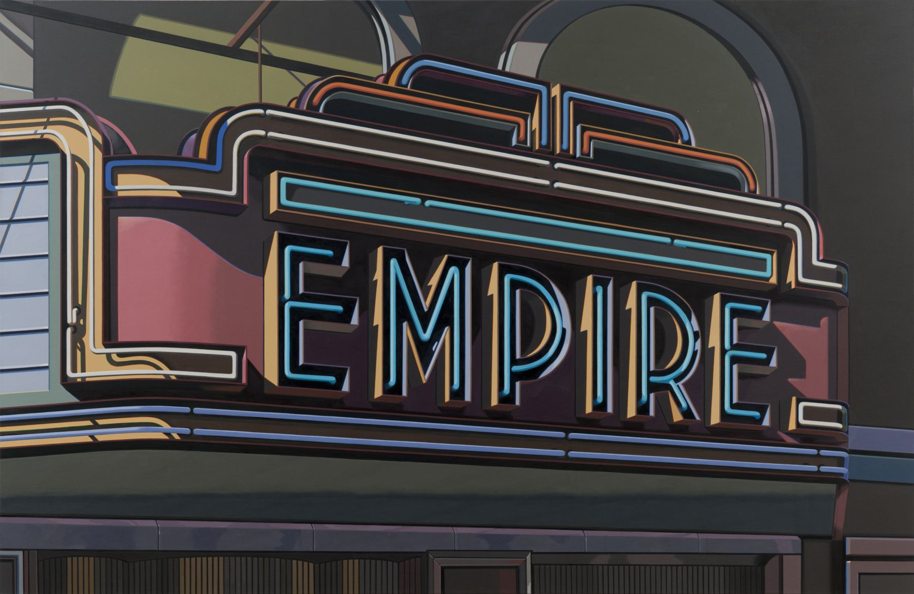 robert cottingham, Empire (SOLD), 2009, oil on canvas, 70 x 108 inches