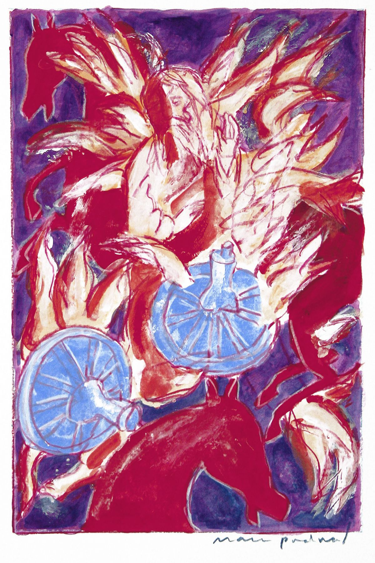 Mark Podwal, Elijah's Transformation into the Angel Metatron (SOLD), 2008, acrylic, gouache & colored pencil on paper, 10 x 6 1/2 inches