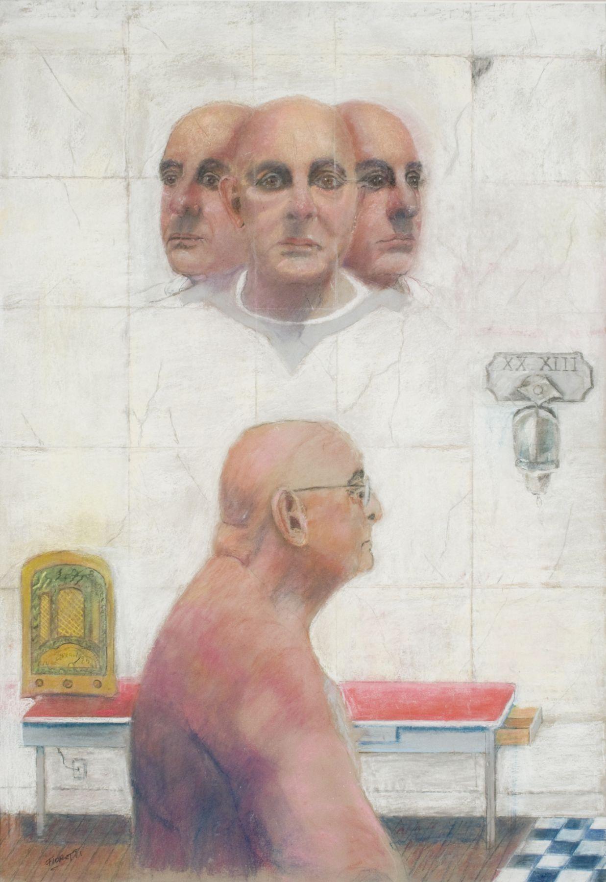 Joseph Fioretti, Four Joeys (SOLD), 2013, pastel on sandpaper, 26 1/2 x 18 1/2 inches