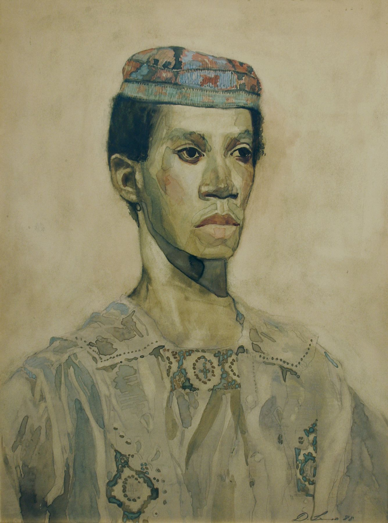 David Levine, Afro-American, 1988, watercolor on paper, 17 1/2 x 14 5/8 inches