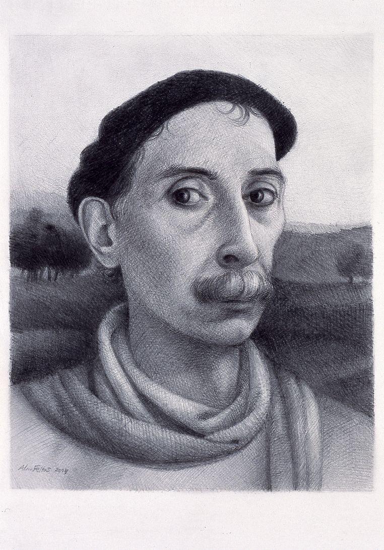 Alan Feltus, Self-Portrait in Landscape, 2004, pencil on heavy Fabriano paper, 14 5/8 x 11 3/4 inches