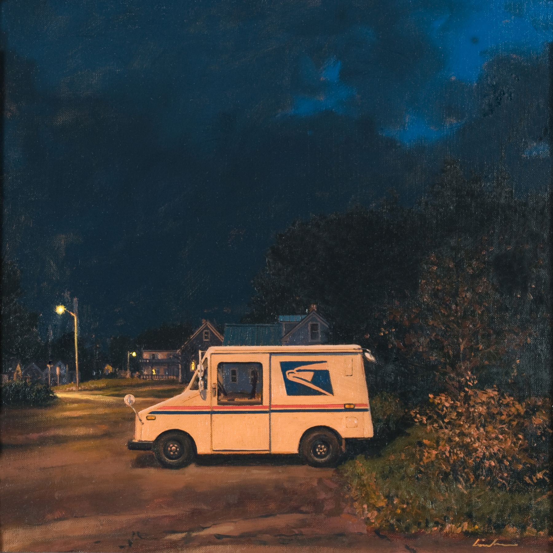 Linden Frederick, Mail (SOLD), 2008, oil on panel, 12 1/4 x 12 1/4 inches