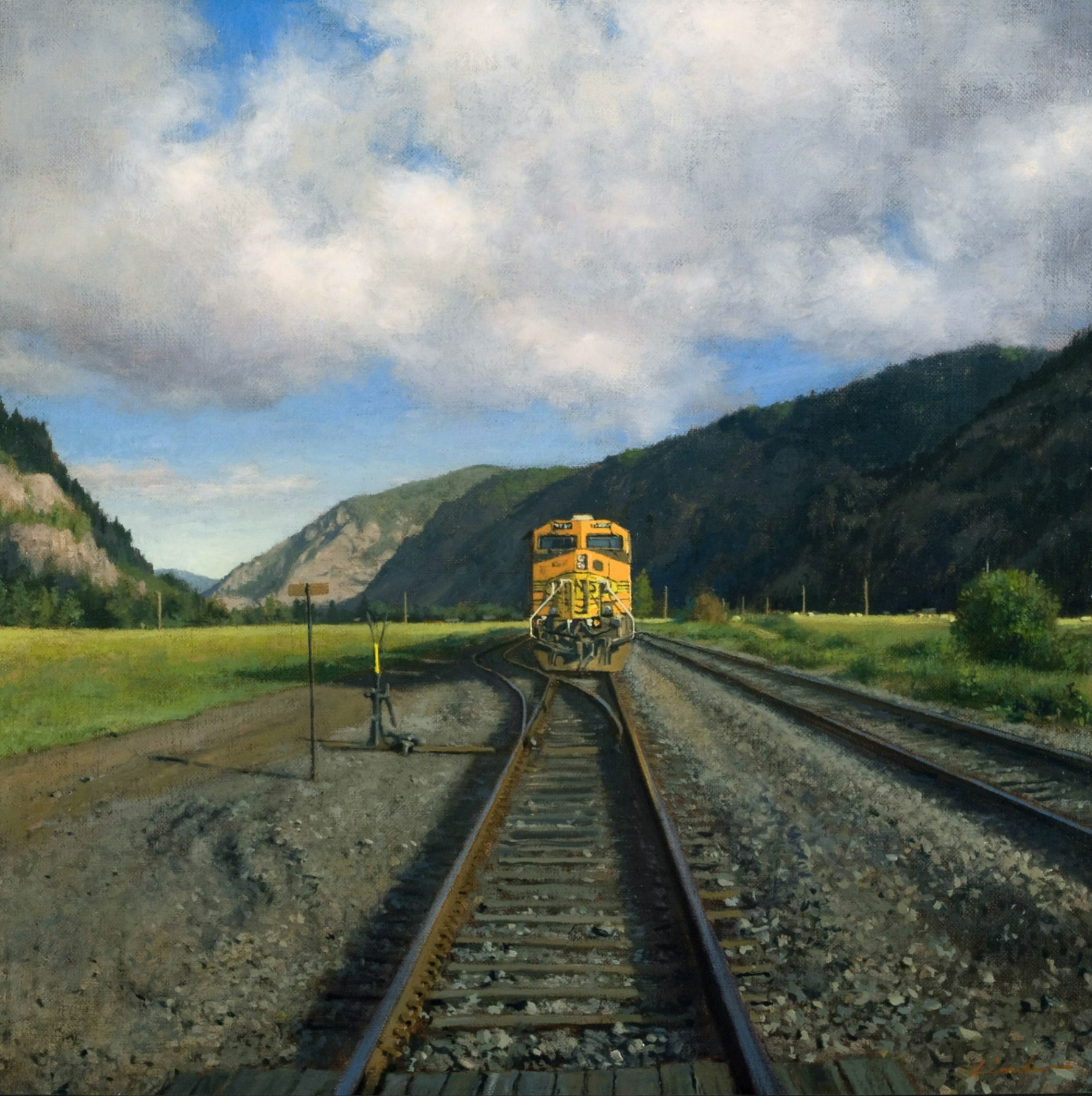 Linden Frederick, Coal Train (SOLD), 2007, oil on panel, 12 1/4 x 12 1/4 inches