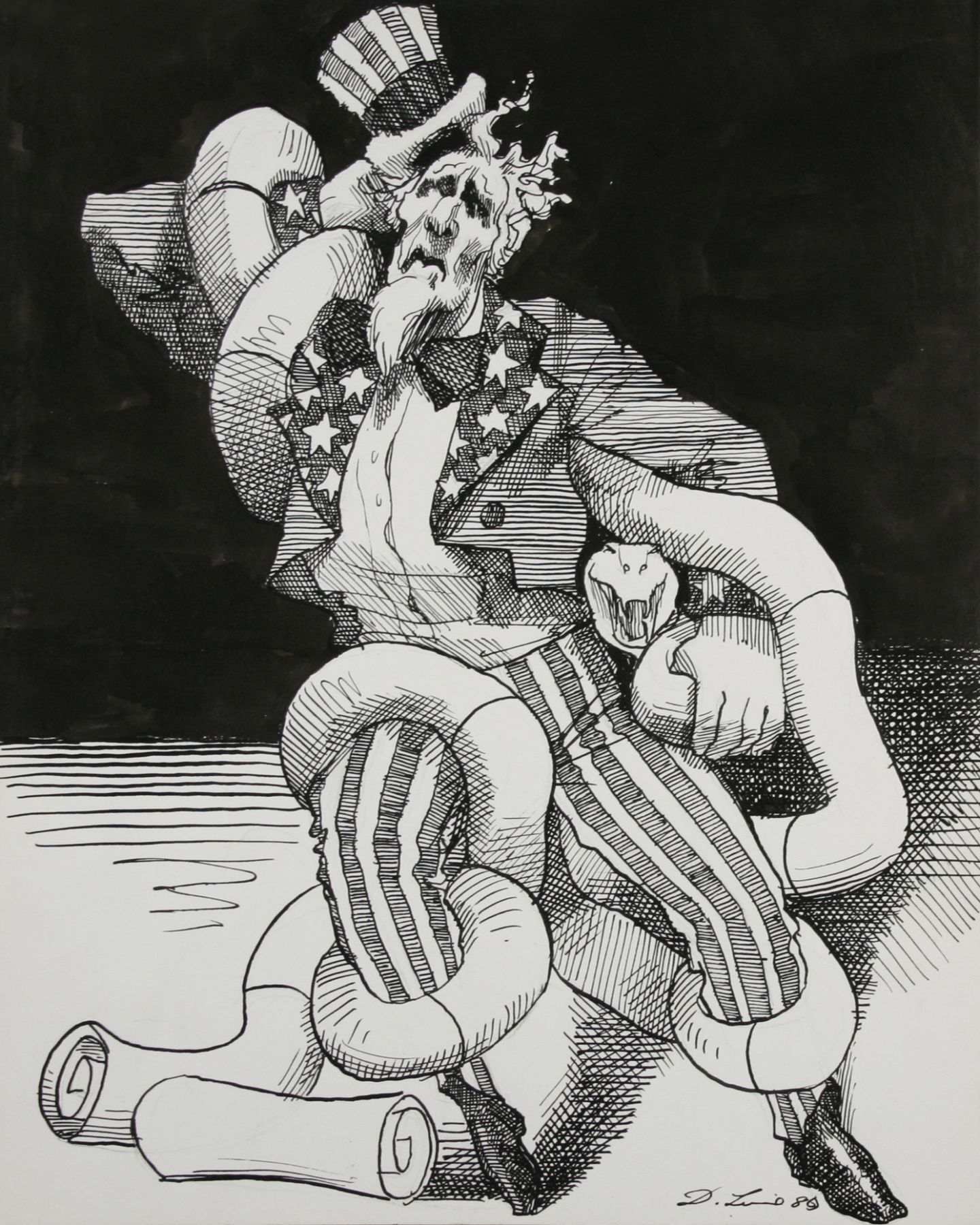 David Levine, Uncle Sam, 1980, ink on paper, 13 3/4 x 11 inches