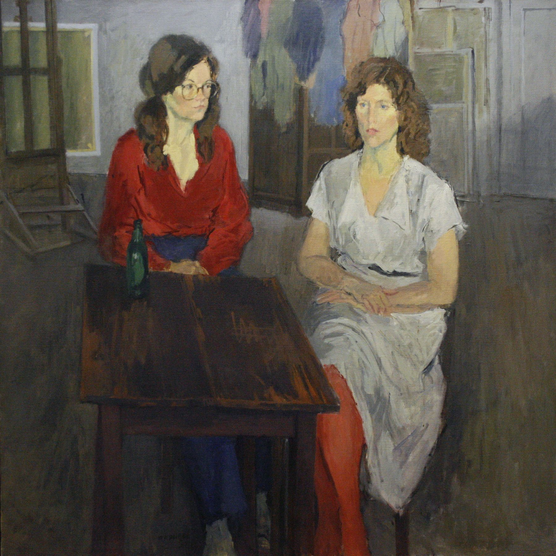 Raphael Soyer, Donna Dennis and Rosemary Mayer, 1981, oil on canvas, 48 x 48 inches