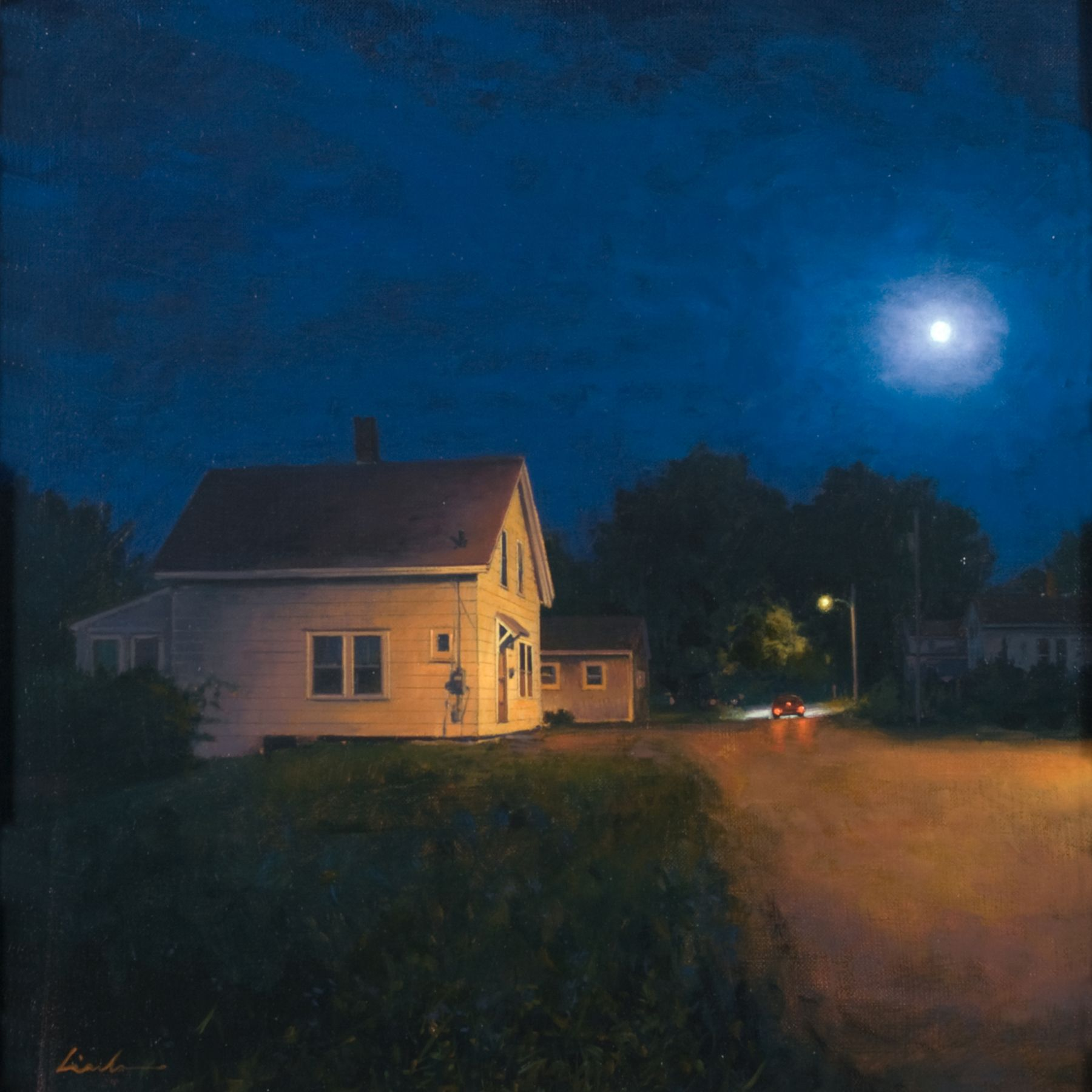 Linden Frederick, Night Out (SOLD), 2008, oil on panel, 12 1/4 x 12 1/4 inches