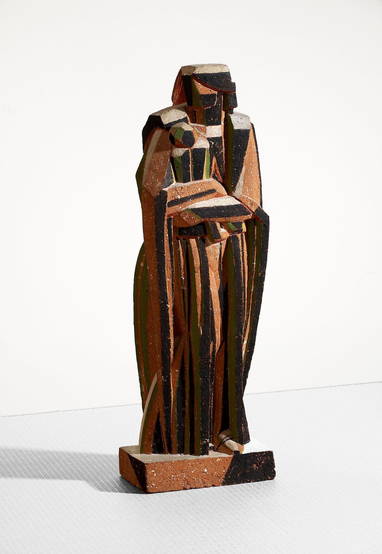 John Storrs, Modern Madonna, c. 1918, polychromed cast stone, 23 h x 7 1/2 w x 5 d inches, unique