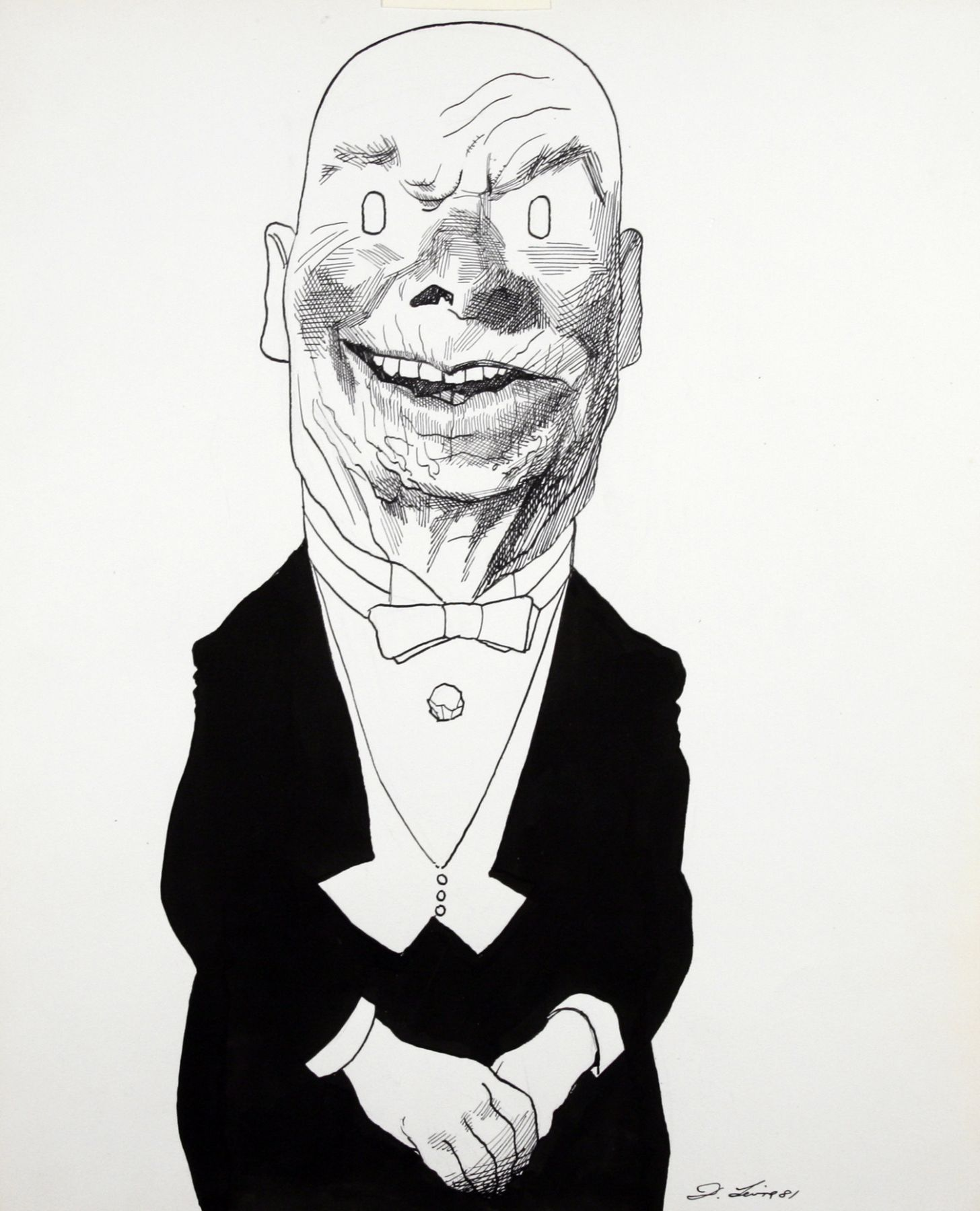 David Levine, Daddy Warbucks Reagan, 1981, ink on paper, 13 1/2 x 11 inches