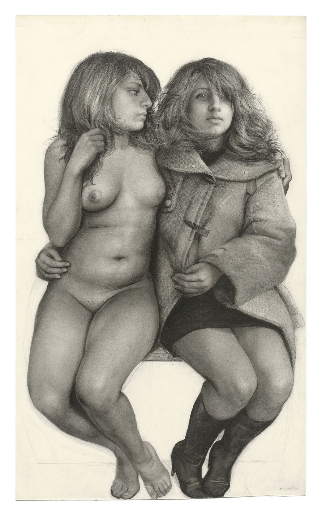 Steven Assael, Samantha Twice (SOLD), 2008, graphite and crayon on paper, 20 1/2 x 12 1/4 inches