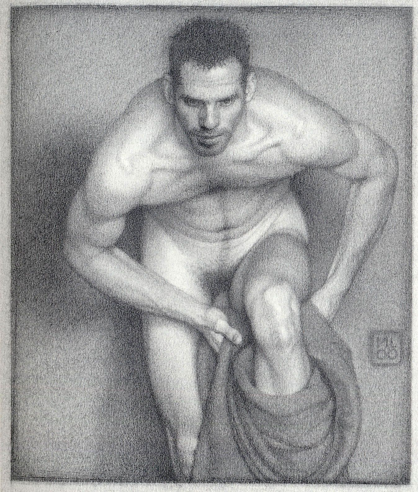 Michael Leonard, Bather With Intent (SOLD), 2000, graphite pencil on paper, 9 x 7 5/8 inches