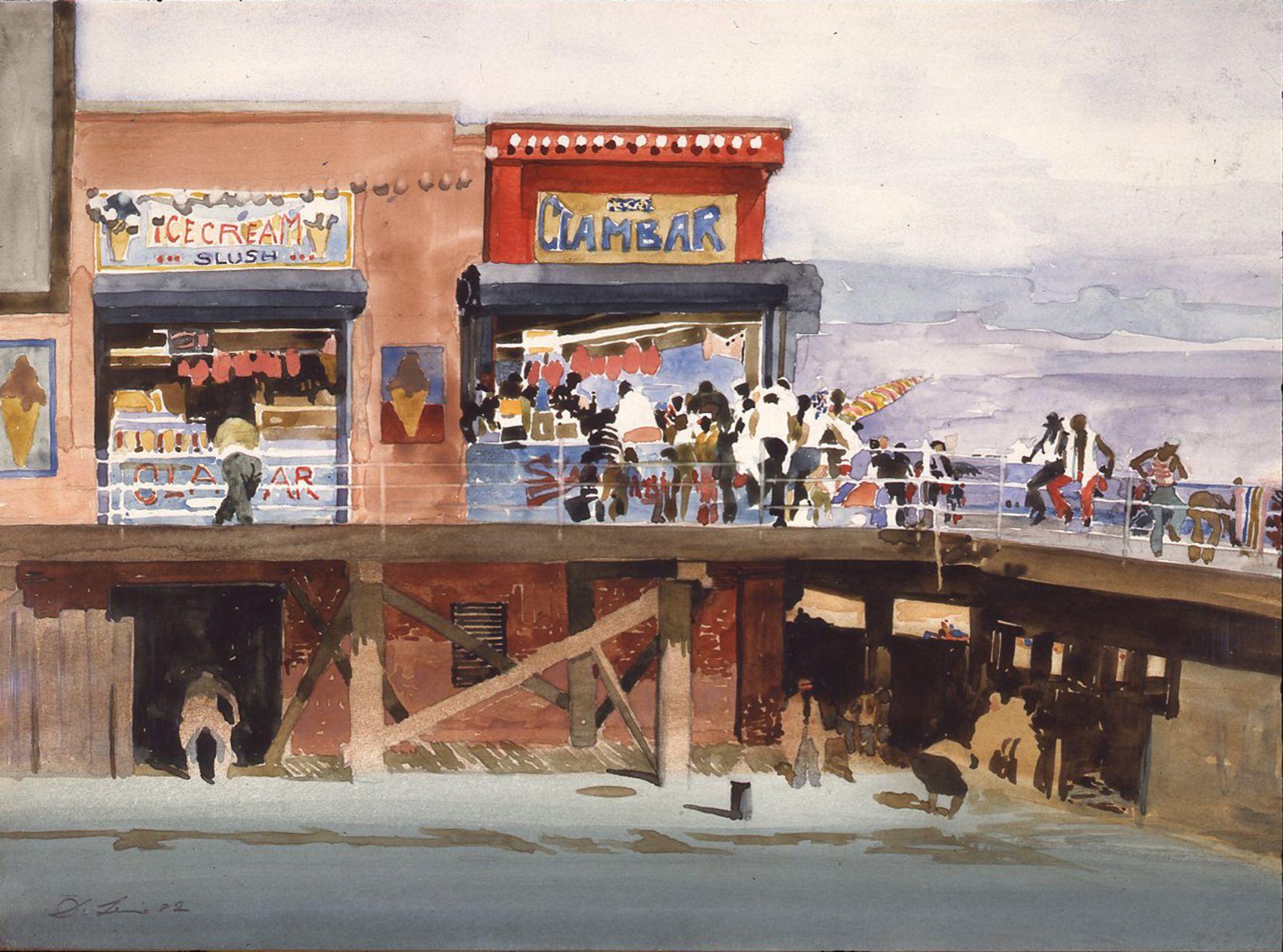 david levine, Coney Cul-de-Sac, 1981-82 watercolor 10 1/2 x 14 1/2 inches, Private collection, Far Hills, NJ