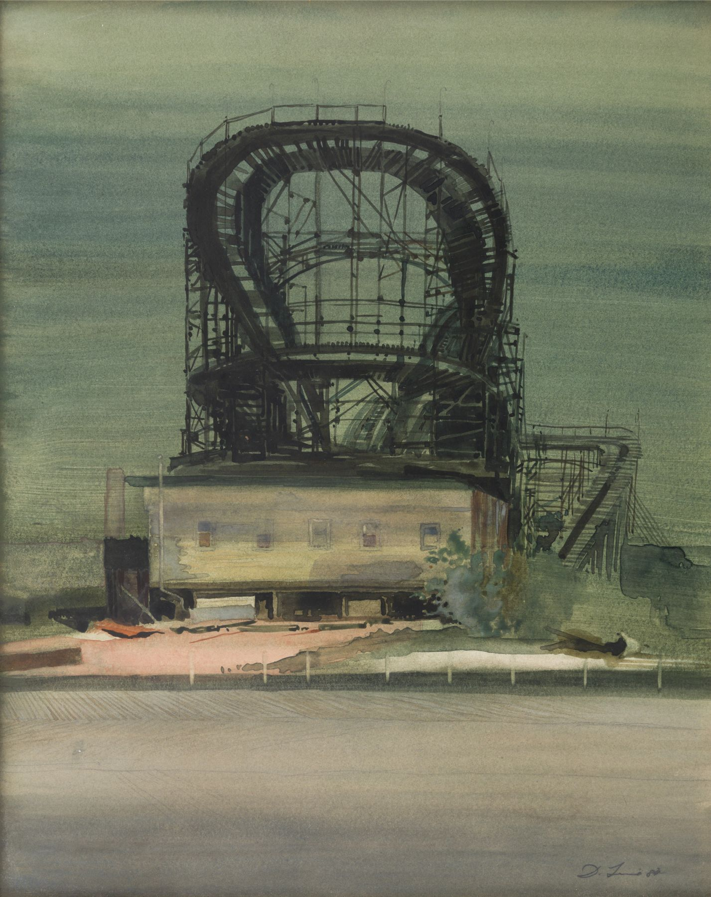 david levine, Goya at Coney (NFS), 1982, watercolor on paper, 15 x 12 inches