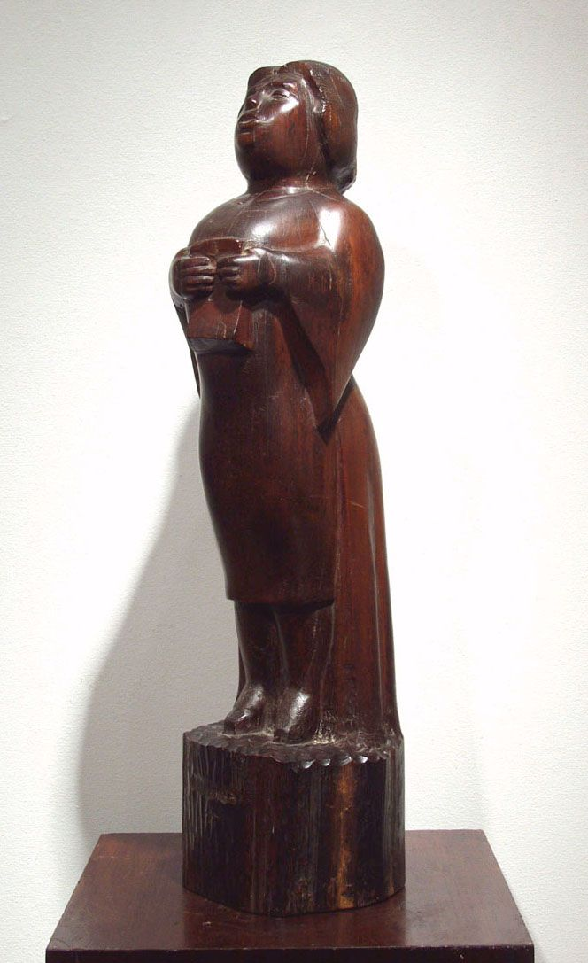 Chaim Gross, Madame Singing, 1930, snakewood, 20 inches high
