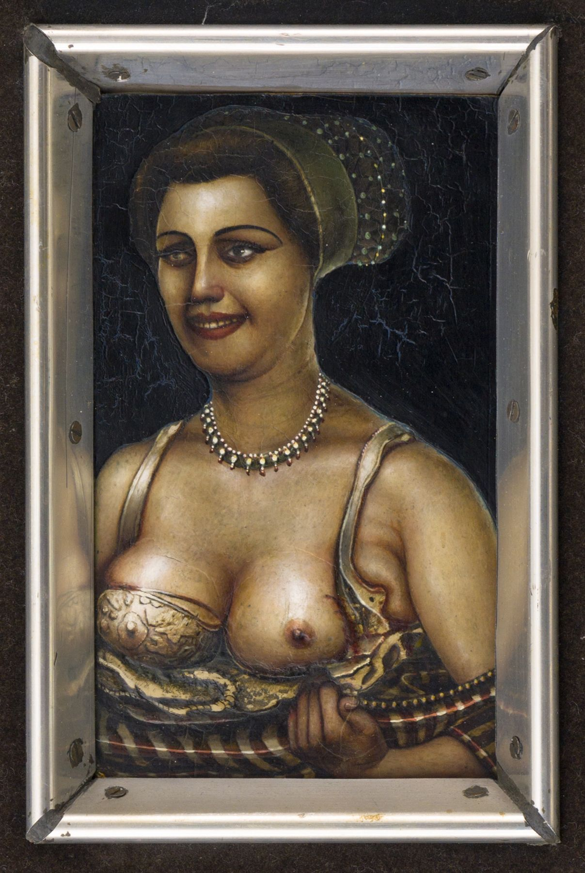 Gregory Gillespie, Lady with Jewels (also known as Woman with Beads) (SOLD), 1969, mixed media on panel, 6 x 3 1/2 inches
