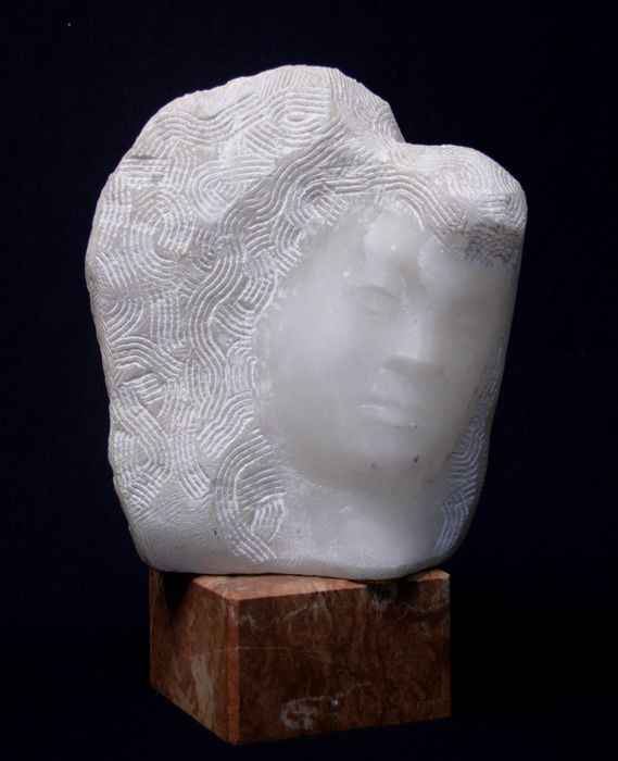 Chaim Gross, Rachel, 1970, white alabaster, 11 1/2 x 9 1/2 x 7 1/2 inches