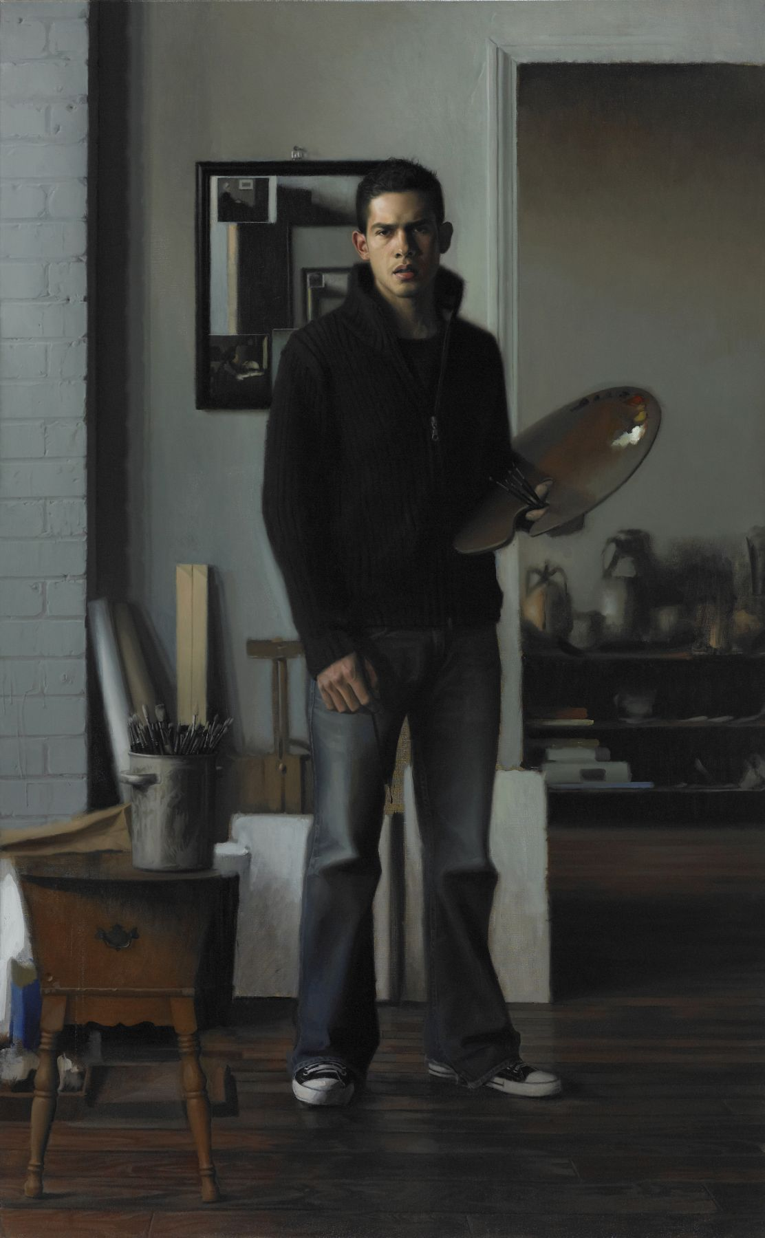 Jesus Villarreal, El Espejo (The Mirror), 2010-11, oil on linen, 68 x 40 inches