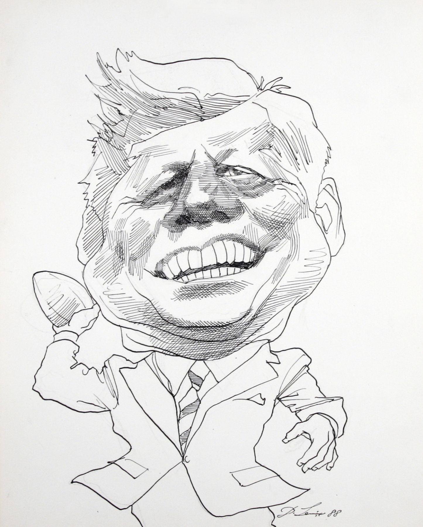 david levine, JFK, 1988, ink on paper, 13 x 11 inches