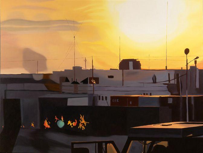 megan rye, Dawn, 2007, oil on canvas, 78 x 103 inches