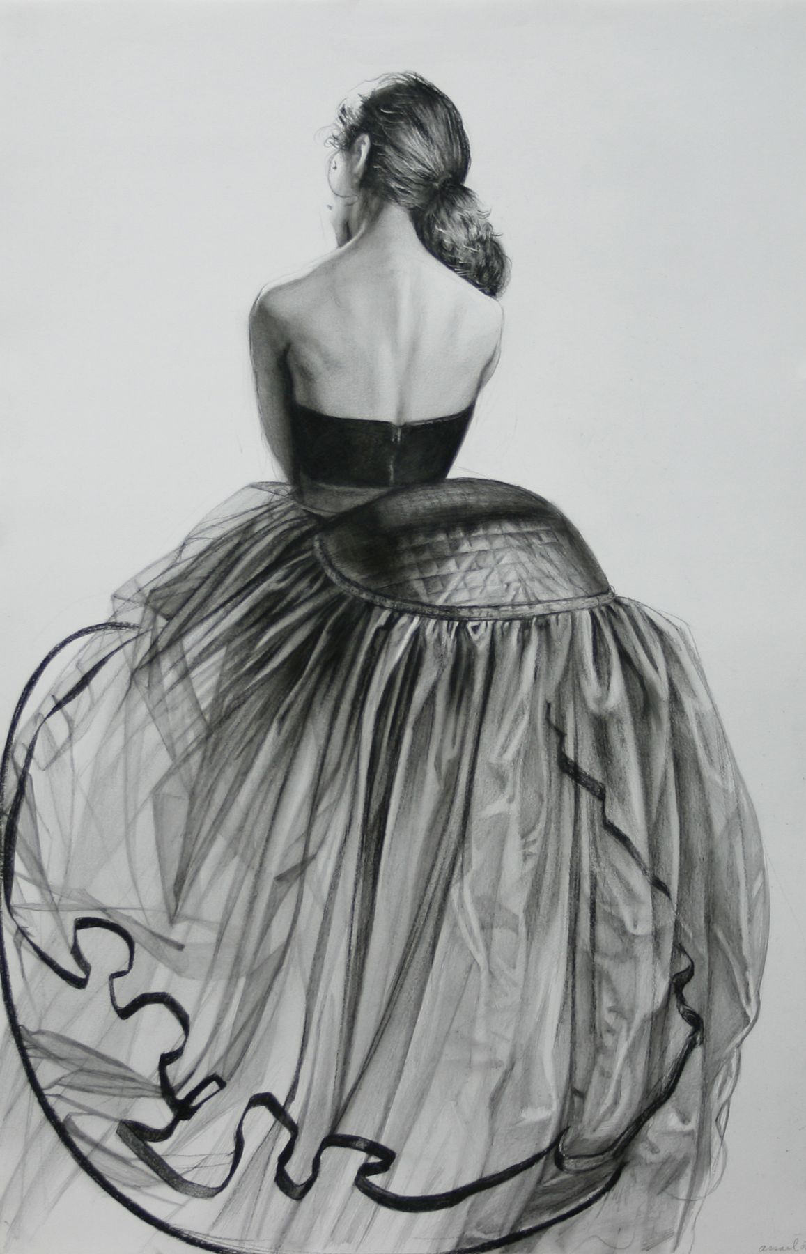 Steven Assael, Big Dress (SOLD), 2008, crayon and graphite on paper, 19 3/4 x 12 7/8 inches