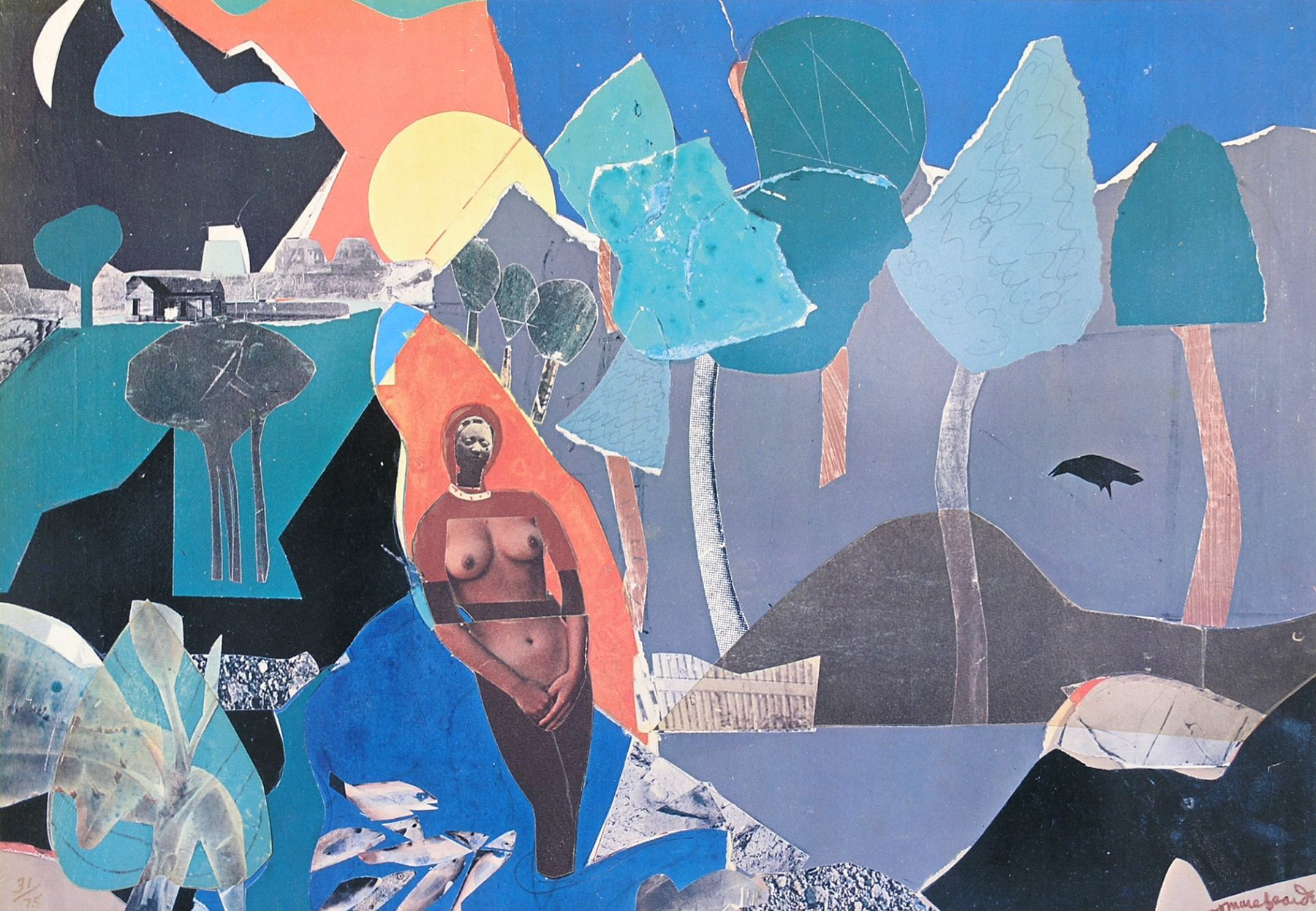 Romare Bearden, Memories, 1975, multiple collage, 14 x 20 inches