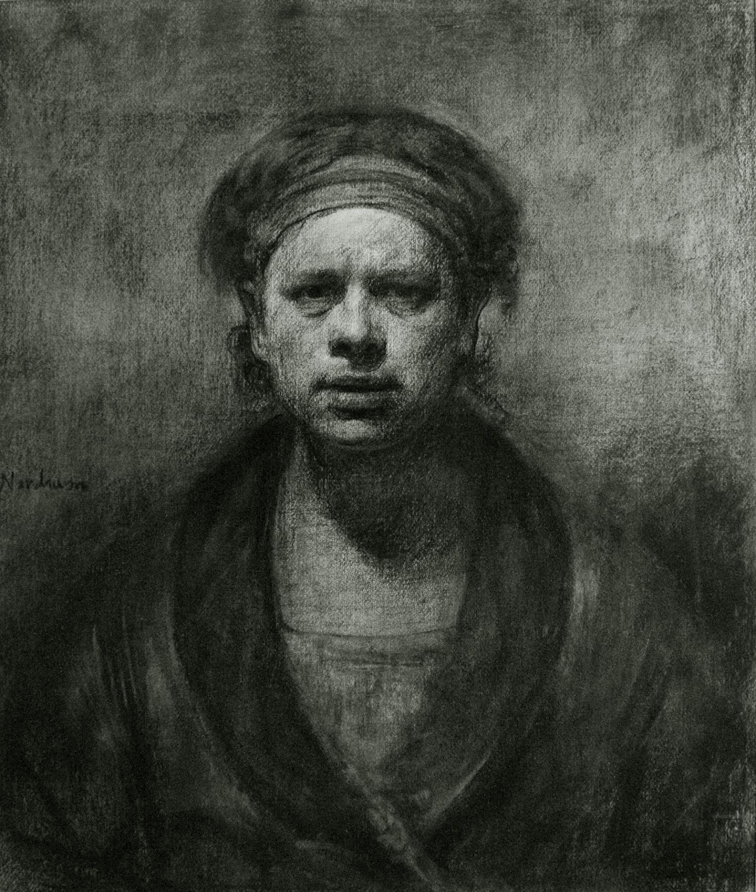 Odd Nerdrum, Self-Portrait, 1983, charcoal on paper, 31 x 26 inches