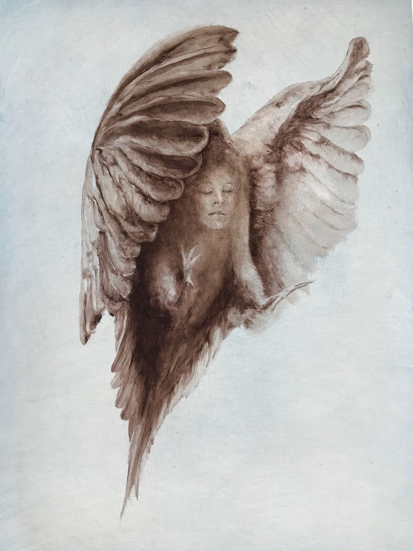 Kate Javens, Alyssa as a Mourning Dove, 2018, oil on birch panel, 24 x 18 inches