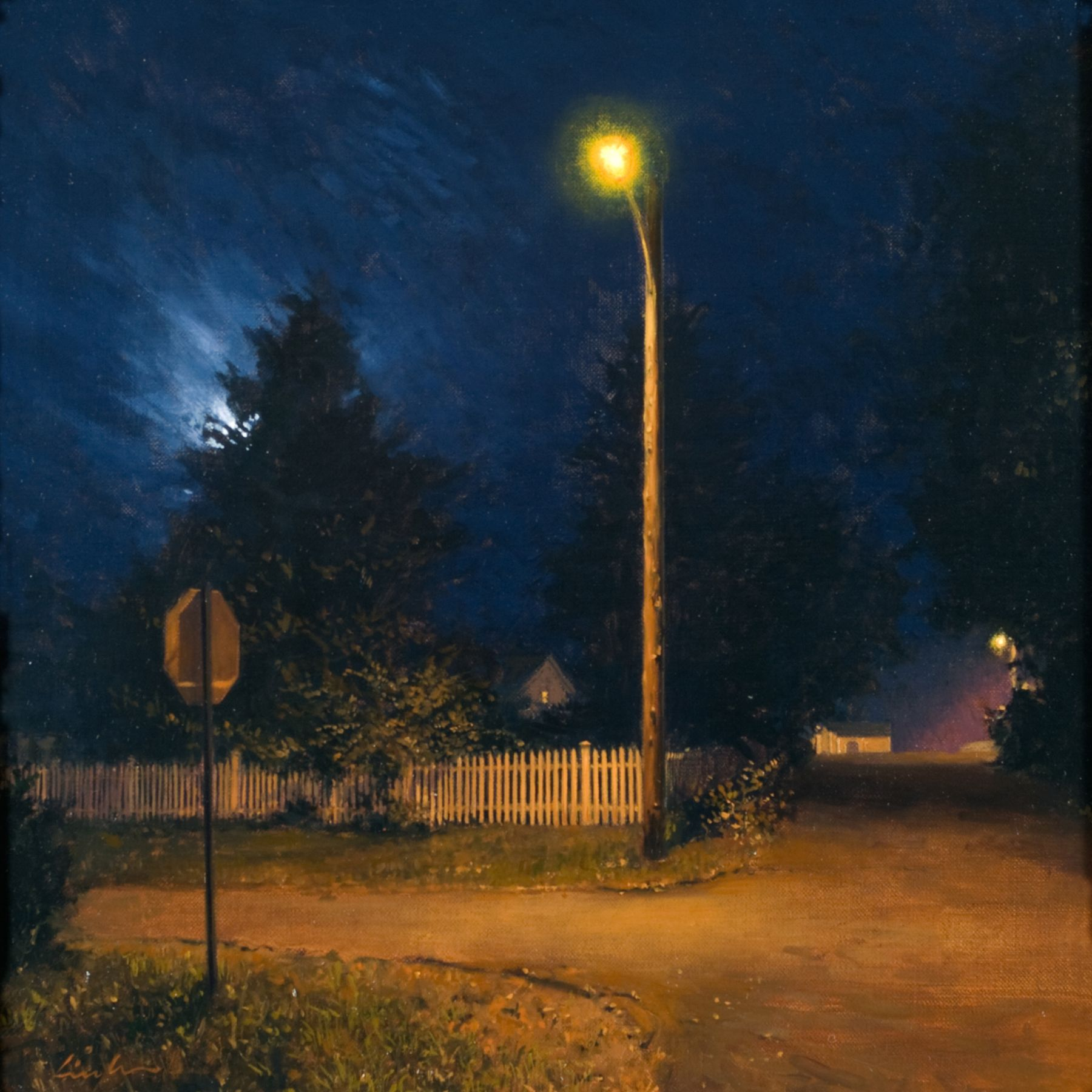 Linden Frederick, Night Corner (SOLD), 2008, oil on panel, 12 1/4 x 12 1/4 inches