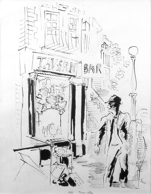 George Grosz, Tavern Story, 1933, pen, brush and India ink on paper, 23 x 18 inches