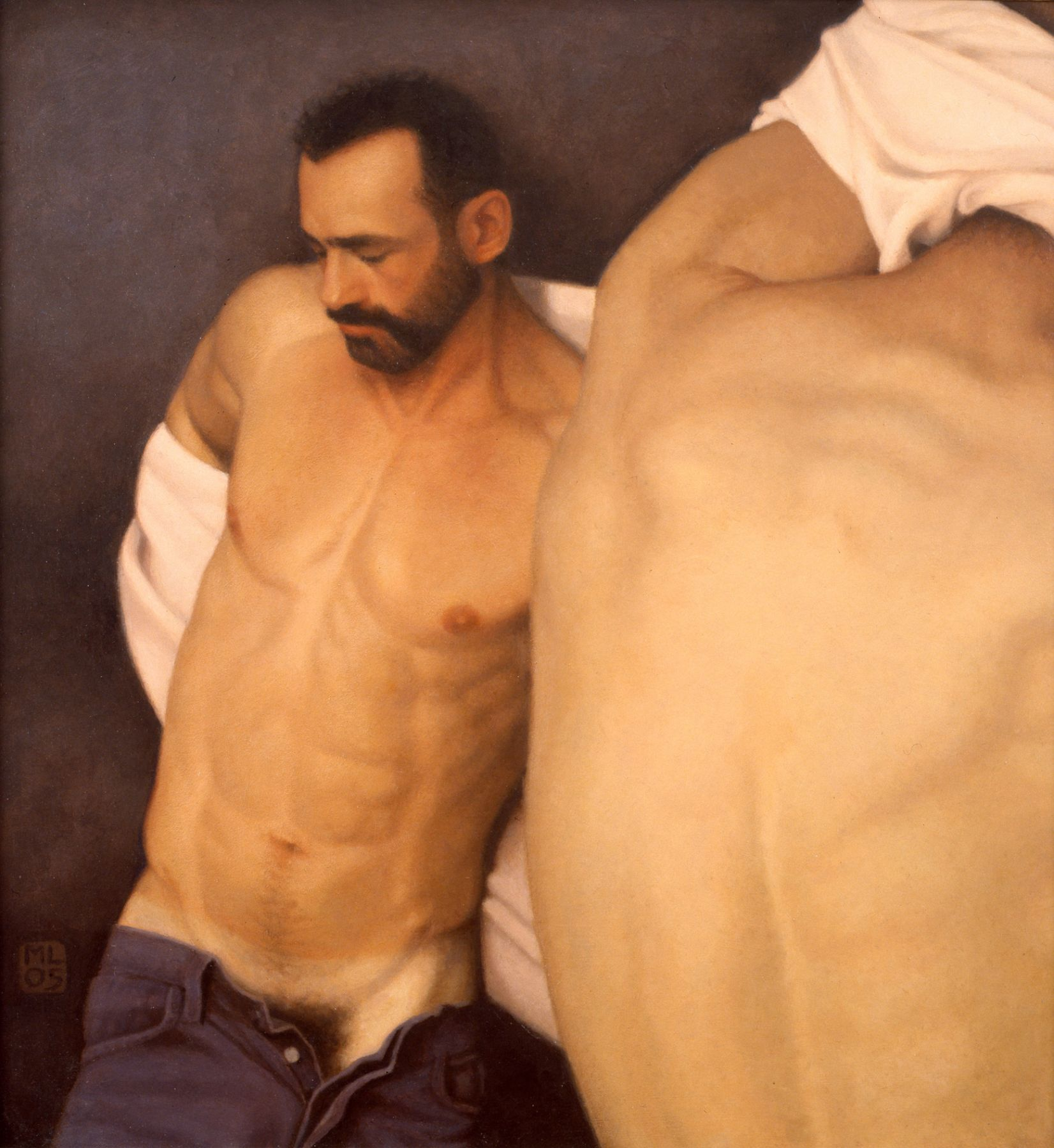 Michael Leonard, Changing Room (SOLD), 2005, alkyd-oil on masonite, 23 x 21 1/2 inches