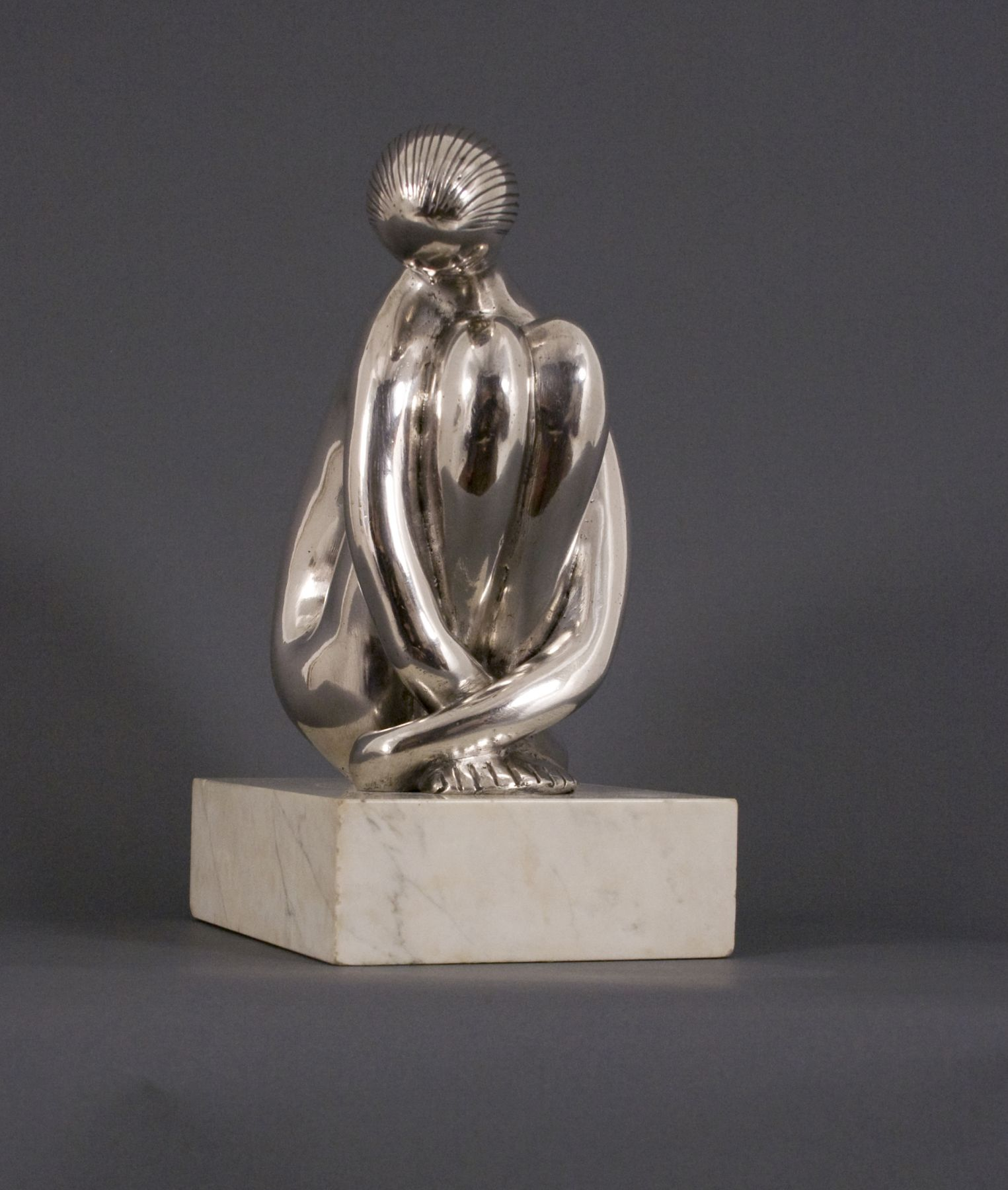 hugo robus, Meditating Girl, 1958, cast in 1962, silver, 8 x 3 1/2 x 5 inches, Edition of 3