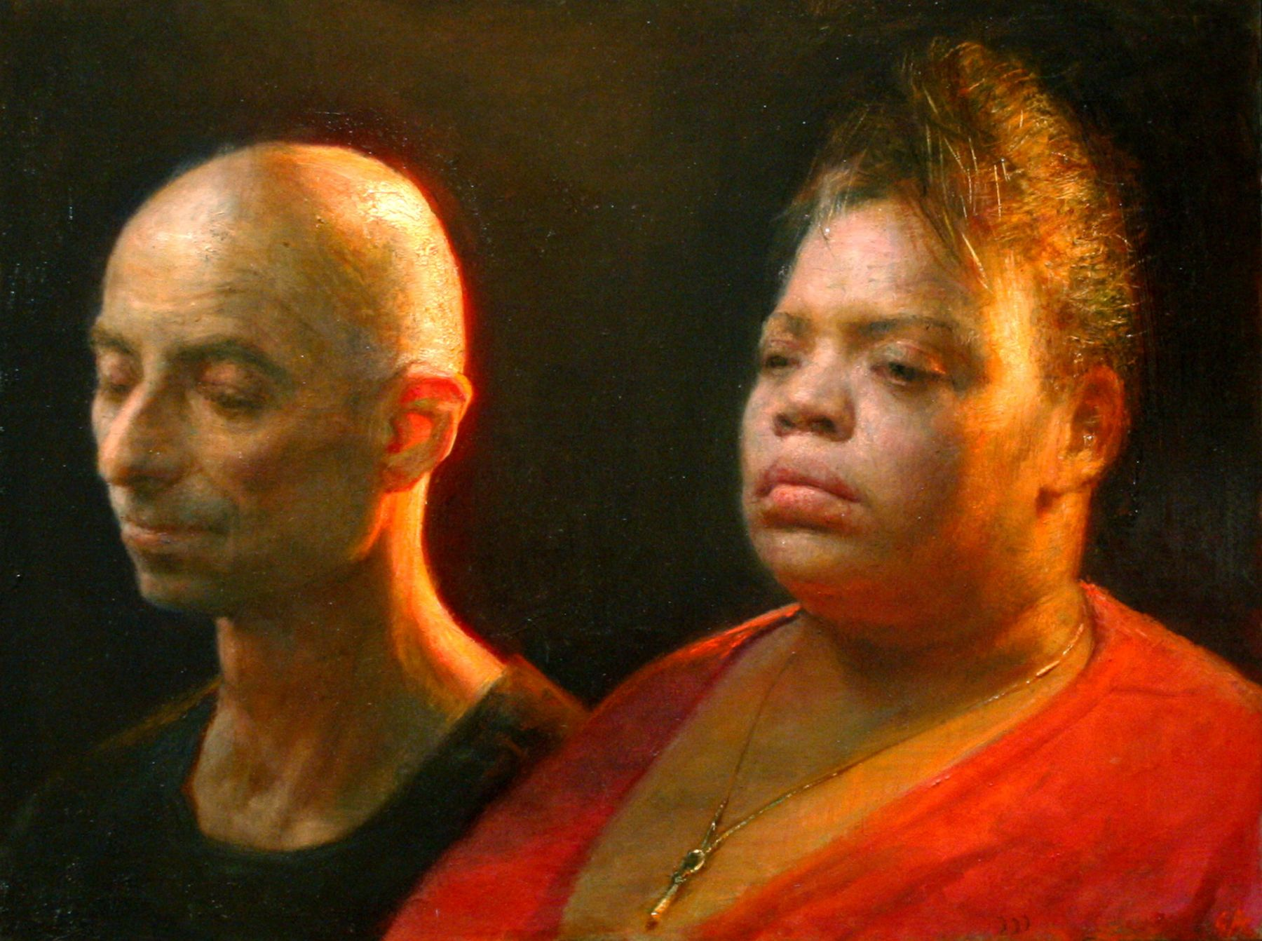 Steven Assael, Kim and Yves, 2008, oil on panel, 18 x 24 inches