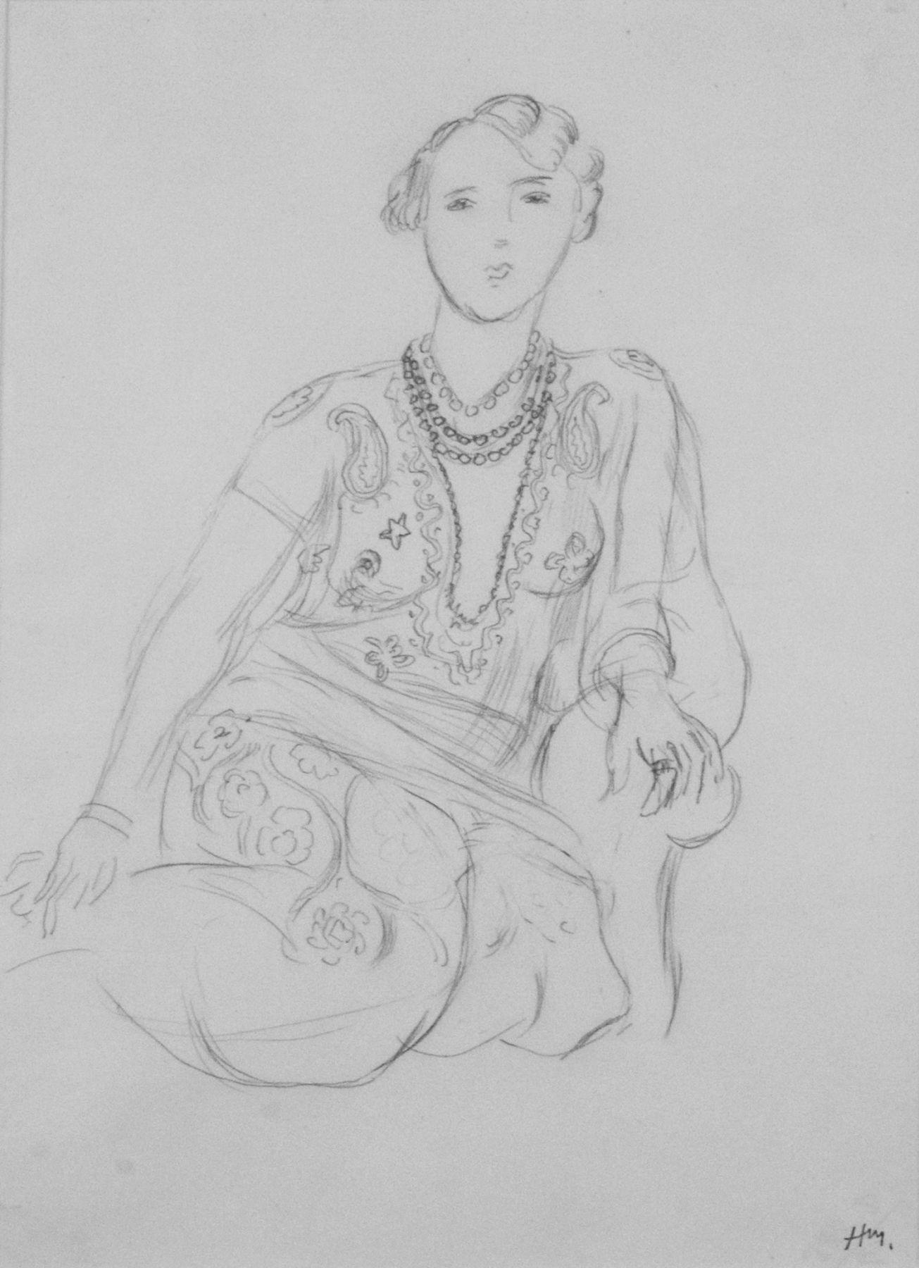 Henri Matisse, Femme au collier (Portrait de Henriette Darricarrière) [SOLD], 1926, pencil on paper, 14 x 10 7/8 inches