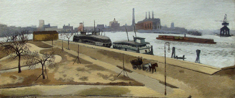 Raphael Soyer, Jackson Park, c. 1930, oil on canvas, 11 x 26 1/2 inches
