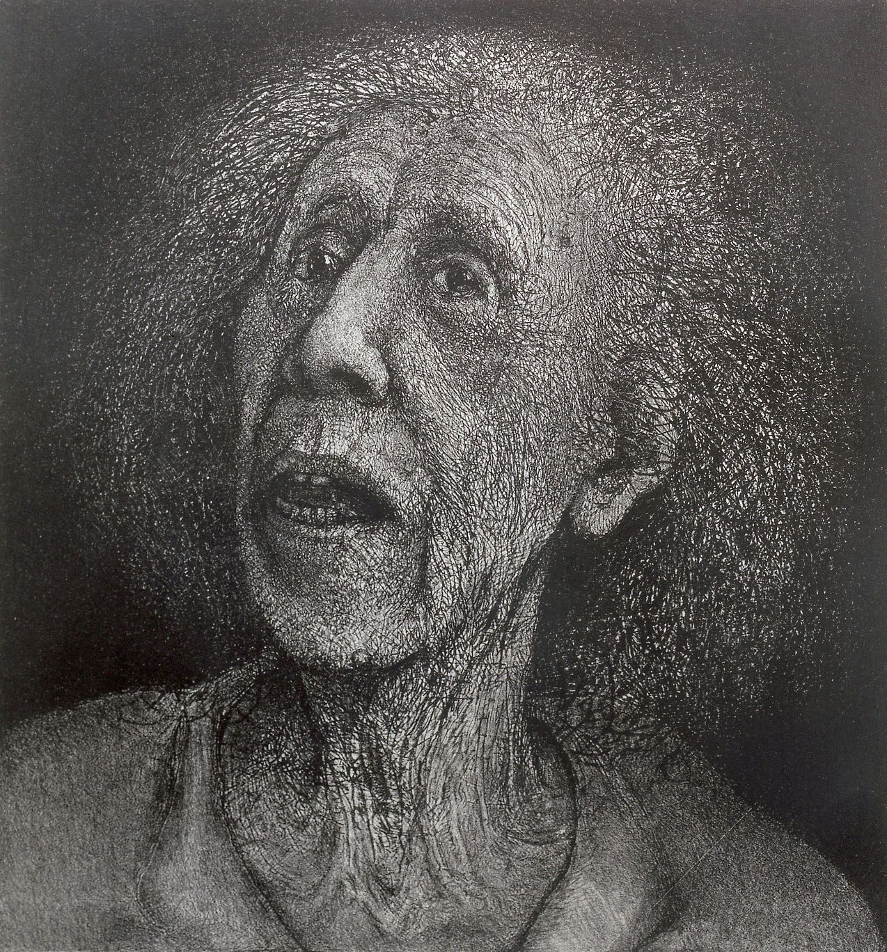 Gregory Gillespie, Untitled Drawing (Rita), 1984, pencil and ink on mylar with lightbox, 23 1/4 x 22 inches