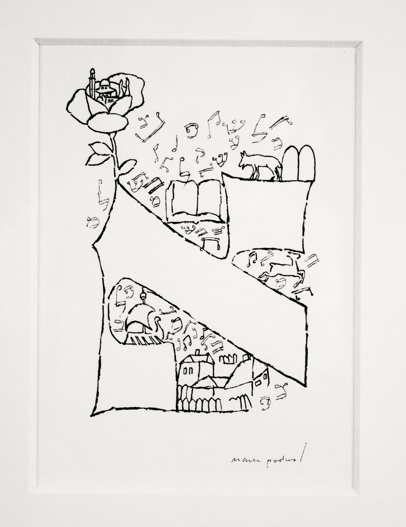 mark podwal, Who Knows One? (from Elie Wiesel, A Passover Haggadah), 1991, ink on paper, 5 1/2 x 4 inches