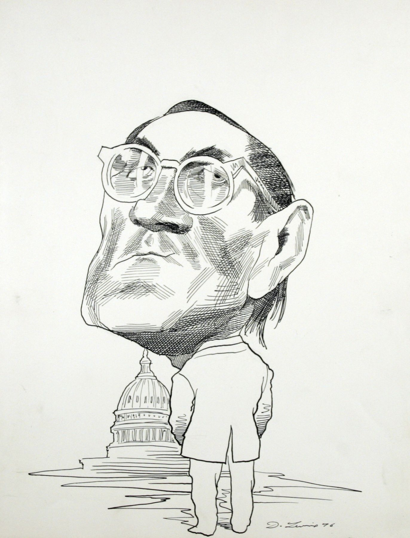 David Levine, William Colby, 1976, ink on paper, 13 3/4 x 11 inches
