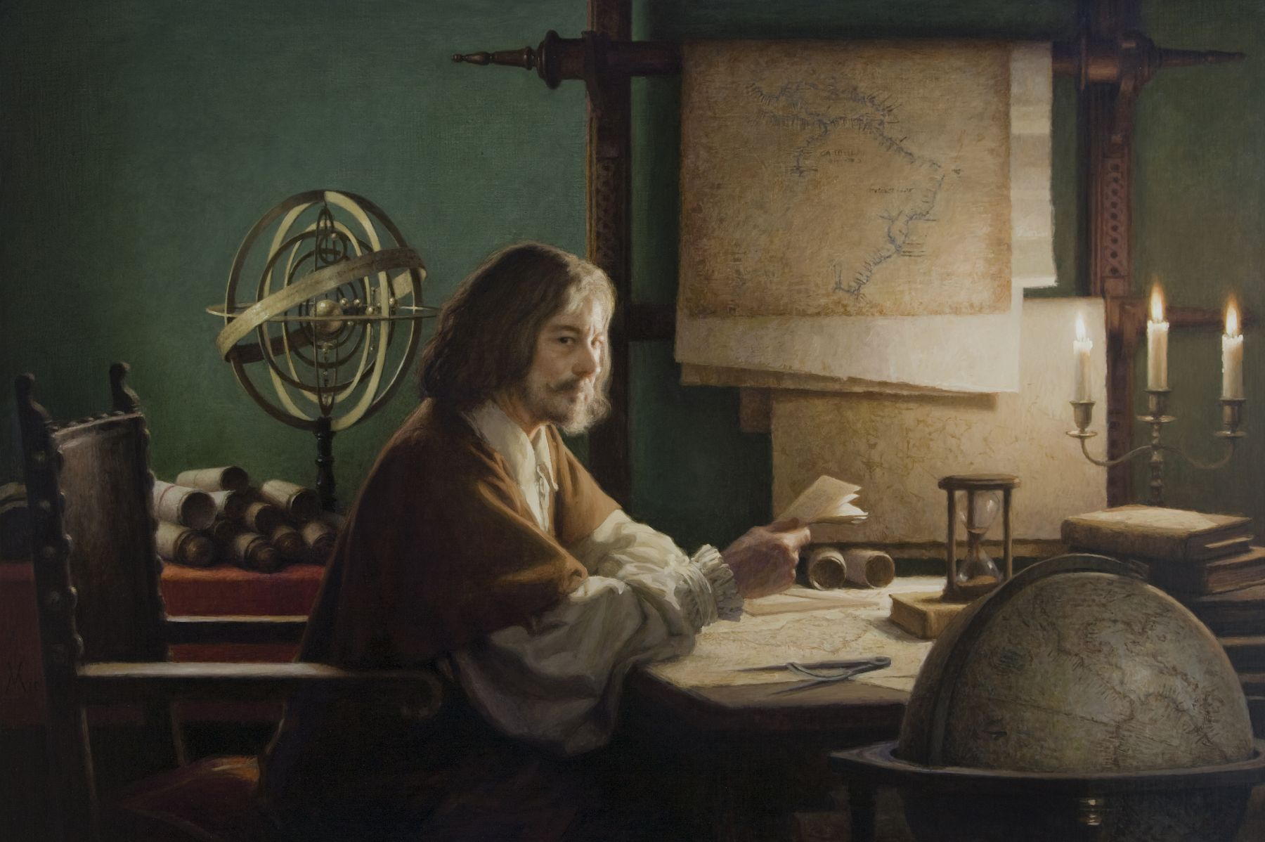 guillermo munoz vera, The Cartographer (SOLD), 2010, oil on canvas on panel, 39 3/8 x 59 inches